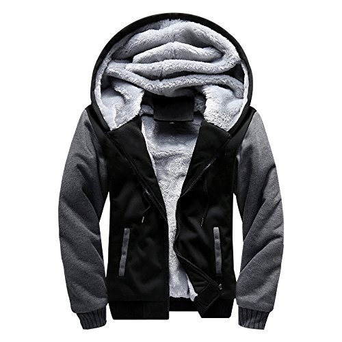 er Life ASALI Men's Pullover Winter Jackets Hooed Fleece Hoodies Wool Warm Thick Coats Black L#02 (Men Winter Coats)