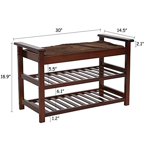 Lucky Tree Espresso Upholstered Bench with Padded Seat 2 Tiers Bamboo Storage Rack Standing Shoe organizer Shelf with Cushion for Entryway BedroomMud Room by Lucky tree (Image #2)