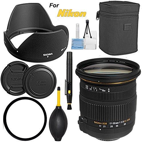 Sigma 17-50mm f/2.8 EX DC OS HSM Zoom Lens for Nikon DSLRs with APS-C Sensors - Bundle