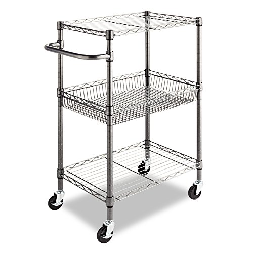 Open Wire Cart (Alera 3-Tier Wire Rolling Cart, 3-Tier Wire Rolling Cart,28w x 16d x 39h, Black Anthracite)