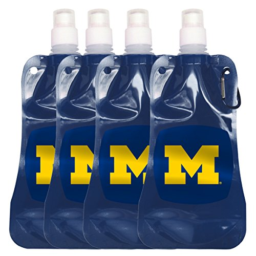 NCAA Michigan Wolverines Foldable Water Bottle, 16-ounce, 4-