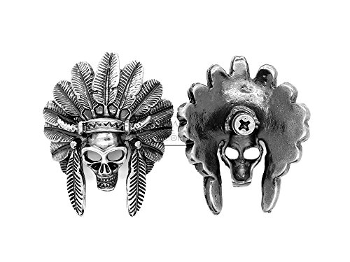 CRAFTMEmore Bronze and Silver Skull Concho Screw Back Indian Head Tribal Cheif Conchos Leathercraft Decor 2PCS 1-3/4 Inches CHS22 (Silver)