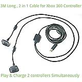 2 in1 3M Lungo USB Gioca e Ricarica Caricabatterie Cavo Di Piombo per Xbox 360 Joystick Pad Gamepad Joypad Joystick By AirBot