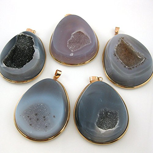 Druzy Agate Geode Pendant, Natural Organic Teardrop Large Pendant, Gold plated Brass, Agate Necklace Pendant- 55mm ()