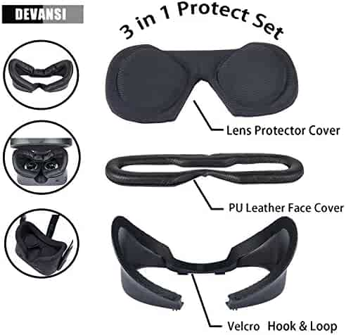 AMVR VR Silicone Protective Face Cover Mask /& VR Lens Cover for Oculus Rift S Headset Sweatproof Waterproof Anti-Dirty Replacement Face Pads Accessories Red