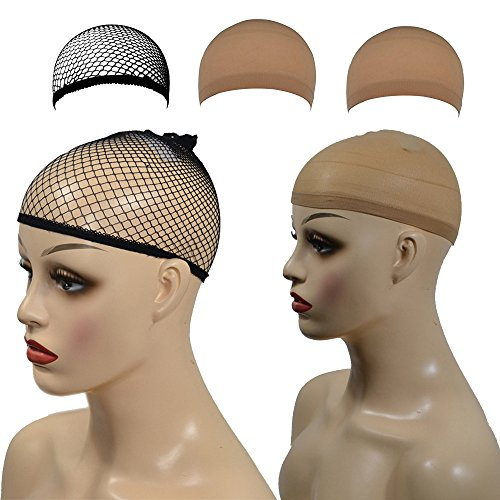 FORUU Wigs, 2019 Valentine's Day Surprise Best Gift For Girlfriend Lover Wife Party Under 5 Free delivery 3 Pcs Elastic Wig Caps Nylon Neutral Nude Beige Black Mesh]()