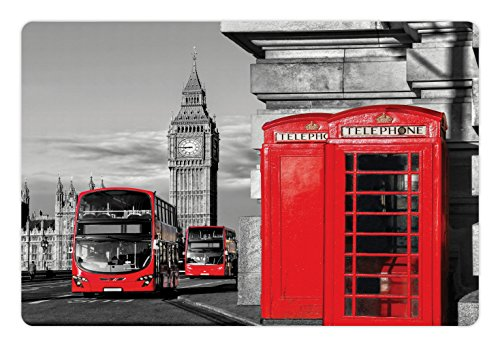 Ambesonne London Pet Mat for Food and Water, London Telephone Booth in the Street Traditional Local Cultural Icon England UK Retro, Rectangle Non-Slip Rubber Mat for Dogs and Cats, Red Grey (Floor Rug England)
