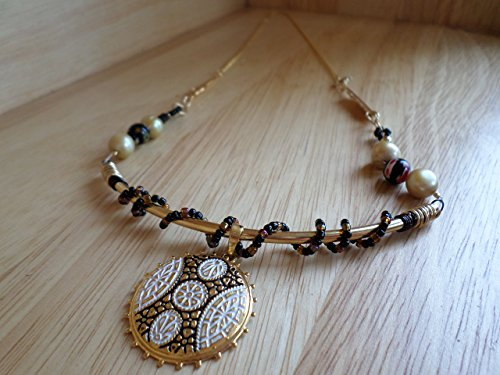 Black, White and Gold Theme Necklace. 23 1/2 inch long (Black And White Dress Up Ideas)
