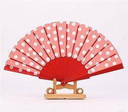 Derker Set of 10 Polka Dots Pattern Folding Fan with Plastic Handle Size 9\