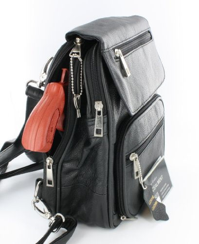 Black Leather R/L Locking Concealment Purse / Backpack - CCW Concealed Carry Gun / Pistol by Roma Leathers
