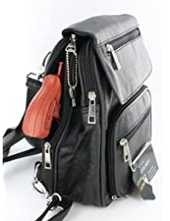Black Leather R/L Locking Concealment Purse / Backpack - CCW Concealed Carry Gun / Pistol