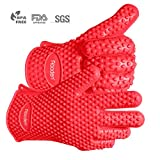 Aboden Silicone Heat Resistant Grilling BBQ Gloves for Cooking, Baking, Smoking & Potholder, Pack of 2, Red