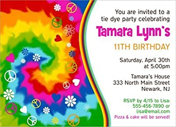 amazon com tie dye birthday party invitations health personal care