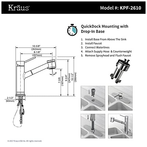 Kitchen Kraus KPF-2610SFS Oletto Kitchen Faucet, 10 1/2 Inch, Spot Free Stainless Steel modern sink faucets