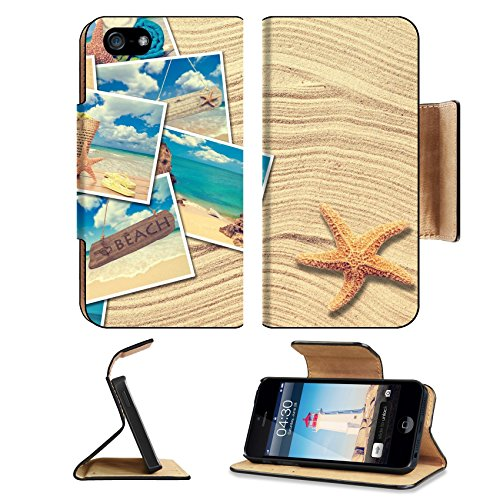 Liili Premium Apple iPhone 5 iphone 5S Flip Pu Leather Wallet Case Vacation postcards on a sand background with starfish iPhone5 Photo 19426787 Simple Snap Carrying