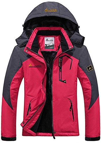 Century Star Women's Warm Mountain Waterproof Fleece Ski Jacket Windproof Rain Jacket Rose Red US M (Tag Size XL)
