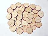 Natural Wood Slices 30 Pcs 2-2.4 Inch Wood Slices with Hole Wooden Circles for Centerpieces Coasters Christmas Ornaments DIY Crafts