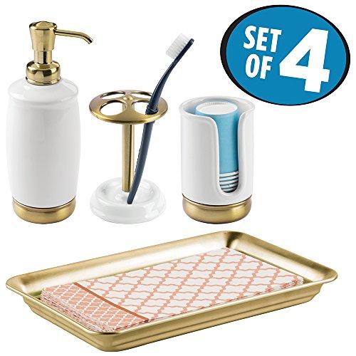 mDesign Bath Accessory Set, Soap Pump, Toothbrush Holder, Paper Cup Dispenser, Vanity Towel Tray - Set of 4, White/Soft (Brass Set Vanity)