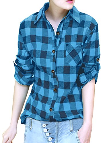 allegra-k-ladies-roll-up-sleeves-button-placket-plaid-shirt-black-blue-s