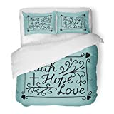 SanChic Duvet Cover Set Hand Lettering Faith Hope and Love with Cross Hearts Bible Verse Christian New Testament Modern Decorative Bedding Set with 2 Pillow Shams Full/Queen Size