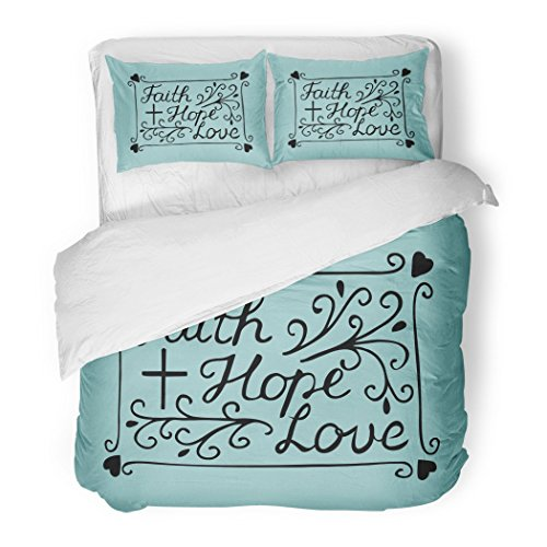SanChic Duvet Cover Set Hand Lettering Faith Hope and Love with Cross Hearts Bible Verse Christian New Testament Modern Decorative Bedding Set with 2 Pillow Shams Full/Queen Size by SanChic