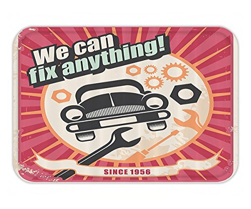 Beshowere Doormat Decor Collection Auto Service Retro Poster and Mechanic Transport Workshop QuoteWe Can FiAnything Design Polyester Fabric Bathroom Set with HookPink White.jpg