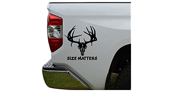 Amazon.com: Size Matters Deer Skull Antlers Hunting Die Cut Vinyl Decal Sticker For Car Truck Motorcycle Window Bumper Wall Decor Size- [8 inch/20 cm] Tall ...