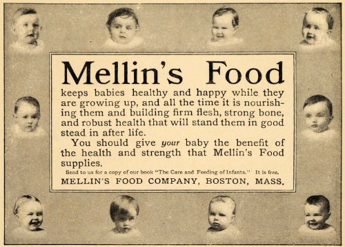 1911 Ad Mellin's Food for Babies Supplies Infant Boston - Original Print Ad