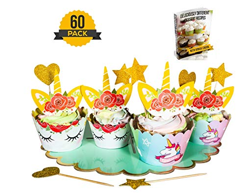 Unicorn Cupcake Toppers And Wrappers | Birthday Party Decorations (60-Piece Set) | Double Sided Rainbow Liners | 3-Tier Dessert Stand, Happy Birthday Sign, 24 Wrappers, 24 Toppers, 5 Hearts, 5 Stars |