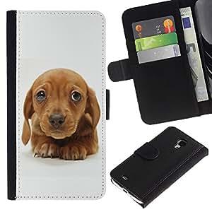 Golden Retriever Puppy Brown Cute - la tarjeta de Crédito Slots PU Funda de cuero Monedero caso cubierta de piel Samsung Galaxy S4 Mini i9190
