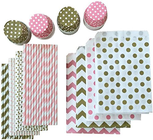 Gold and Pink Party Goods Kit - 100 Straws -48 Candy/Nut Treat Cups -48 Favor - Bag Favor Diva