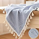LUCKYHOUSEHOME Blue and White Stripe Tassel Tablecloth Waterproof Rural Square Home Kitchen Dinning Tabletop Table Cover 55 x 55 Inch
