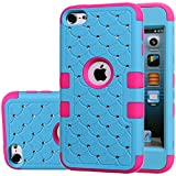ipod 5 case light blue - ipod Touch 5 Case,ipod Touch 6 Case,Auker Heavy Duty Shockproof Bling Mermaids Scales Dual Layer [Soft Silicon+Hard PC Shell] Hybrid Protective Case Cover for ipod Touch 5th/6th Generation (Blue-R)