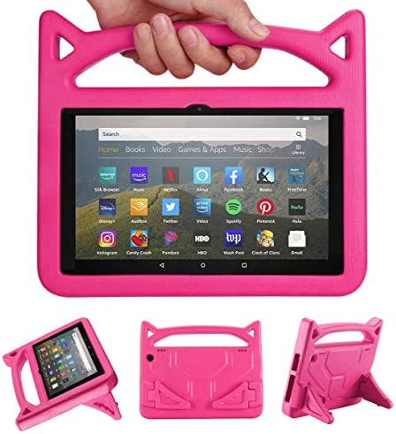 All-New Fire HD 8 Plus Tablet Case,Fire HD 8 Case (tenth Generation, 2020 Release), Riaour Light Weight Shock Proof Handle Friendly Stand Kid-Proof Case for All-New Fire HD 8 Tablet Cover (Rose)