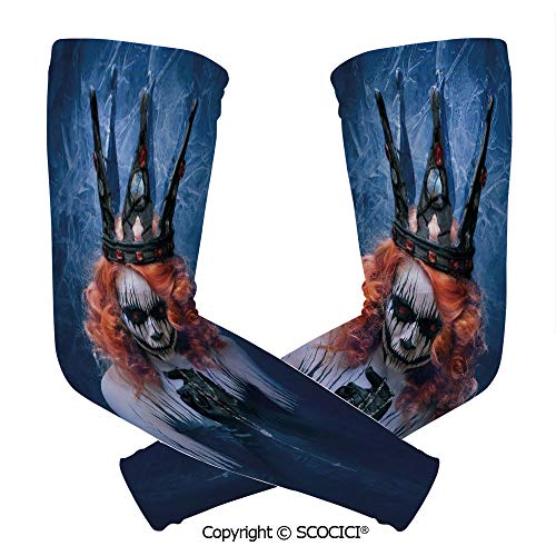 Comfort and Durable Lightweight Arm Guard Sleeve Queen of Death Scary Body Art Halloween Evil Face Bizarre Make Up Zombie Breathable, Flexible Sleeves -