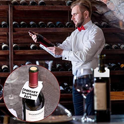 PERFETSELL 200 Stück Flaschen Anhänger Etiketten PVC Flaschenanhänger zum Beschriften Wasserdicht Weinflaschen Etikett für Flasche Flaschenhals