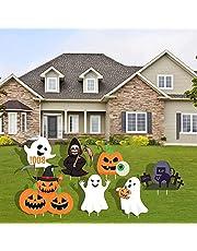 WENWELL - Letreros de Halloween con estacas para decoración al aire libre, terrorífica tumba de bruja, calabaza, fantasmas boo, para jardín, decoración de fiesta