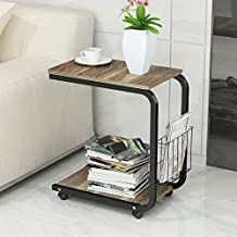 Soges Table Laptop Computer Stand Desk Soges Table Laptop Computer Stand Desk Nightstand Side Table Snack Table with Wheels Removable End Table, Walnut KH02-W-CA