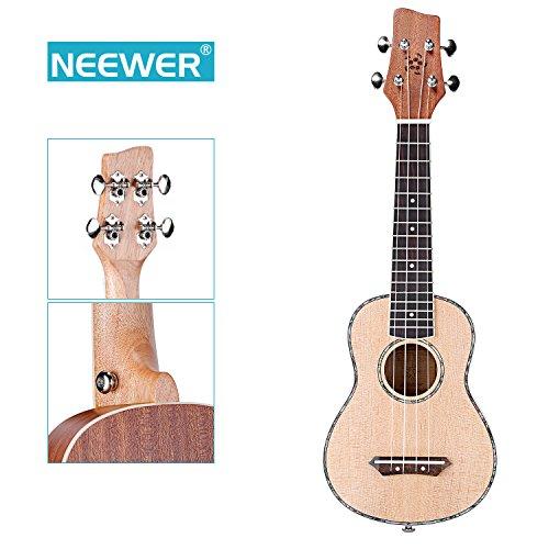 Neewer 21-Inch Matte Finished Sapele & Agathis Soprano Ukulele 4 Strings with Rosewood Fingerboard and Bridge, Buffalo Bone Nut and Saddle, White Binding