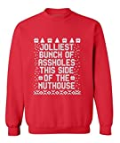 Jolliest Bunch Of Aholes This Side Of The Nuthouse Crewneck Christmas Sweater M Red