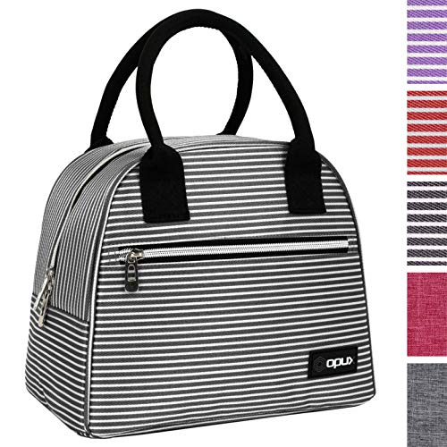 OPUX Premium Insulated Lunch Bag for Women | Lunch Tote Cooler Bag for Ladies | Medium Reusable Soft Lunch Box Purse for School, Work, Office with Pocket | Fits 12 Cans (Black White Stripes)