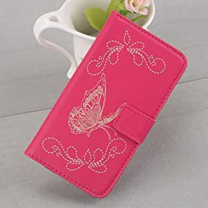 New Fashion Magnetic Flip Stand Leather Wallet Card Hard Case Cover For HTC One M8 Phone (Pink)