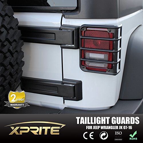 Xprite 2007 - 2017 Jeep Wrangler JK Unlimited Matte Black Light Guard Covers For Rear Taillights ( Tail Light )