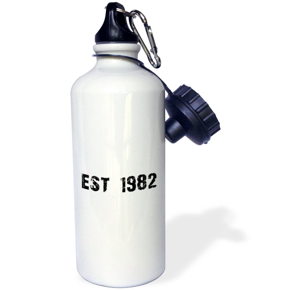 3dRose wb/_161475/_1Grunge Est Established in 1982-Eighties Baby Born Child of the 1980s-Personal custom birth year Sports Water Bottle White 21 oz