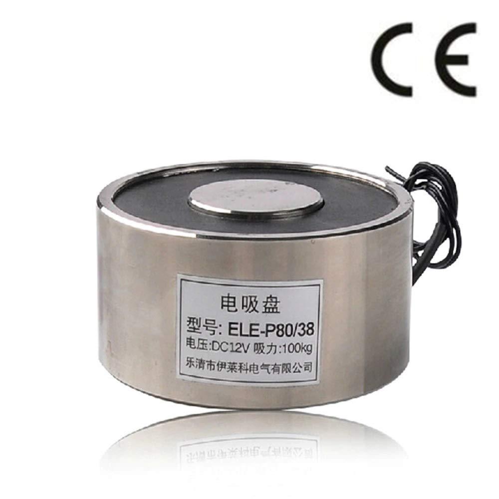 6V - P80/38 Holding Electric Magnet, Lifting 100KG Solenoid Electromagnet DC 6V 12V 24V 14W