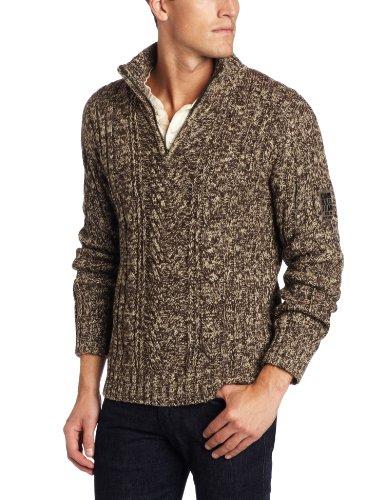 Calvin Klein Jeans Men's Half Zip Marl Cable Sweater