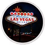 Pixels Round Beach Towel With Tassels featuring ''Welcome To Las Vegas'' by Steve Gadomski