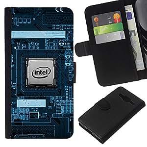 Stuss Case / Funda Carcasa PU de Cuero - CPU Procesador PCB Geek - Samsung Galaxy Core Prime