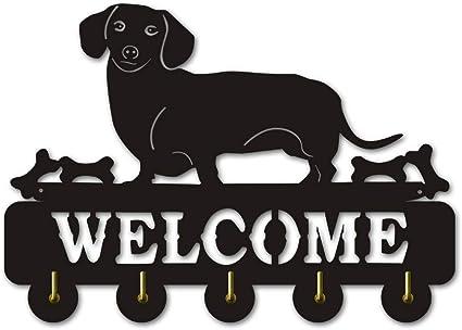 Joeesun 1Pezzo Creativo Bassotto Appendiabiti Cane Cucciolo decorativo Gancio a muro Segno di benvenuto a parete Gancio chiave Ganci a chiave cremagliera Decorazione a parete