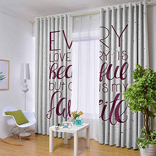 Long Curtains Romantic,Romance Quote Our Story is My Favorite Love and Adoration Theme Calligraphic, Maroon White,W104 by L84 Inch Blackout Curtains 2 Panels Set Room